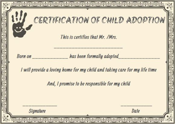 Child Adoption Certificates: 10 Free Printable And In Best 9 Worlds Best Mom Certificate Templates Free