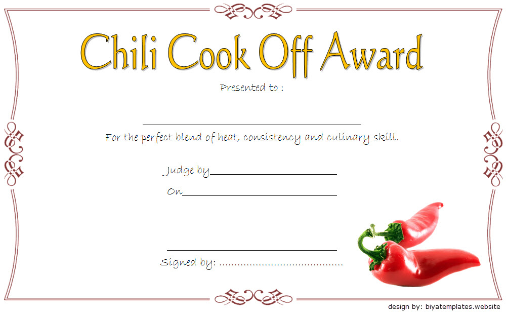 Chili Cook-Off Award Certificate Template Free 4 in Fresh Chili Cook Off Award Certificate Template Free