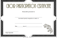 Choir Certificate Of Participation Template Free Printable throughout Fresh Free Choir Certificate Templates 2020 Designs