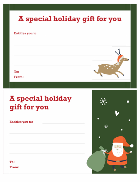 Christmas Gift Certificate (Christmas Spirit Design) Regarding Merry Christmas Gift Certificate Templates