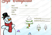 Christmas Gift Certificate Template Free with Christmas Gift Certificate Template Free