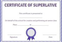 Class Superlative Certificate Template | Certificate intended for Certificate Of School Promotion 10 Template Ideas