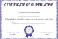 Class Superlative Certificate Template | Certificate pertaining to Handwriting Certificate Template 10 Catchy Designs