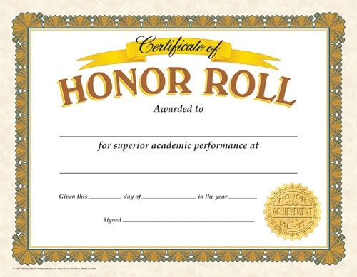 Classic Certificates, Honor Roll, T11307 | Certificate for Best Editable Honor Roll Certificate Templates