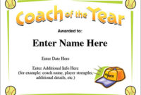 Coach Of The Year Certificate – Softball Award Template with regard to Best Best Coach Certificate Template