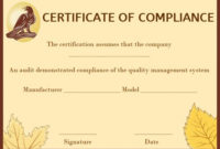 Coc Certificate Of Compliance Template | Certificate in Certificate Of Compliance Template