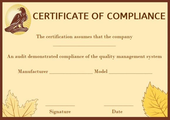 Coc Certificate Of Compliance Template   Certificate In Certificate Of Compliance Template