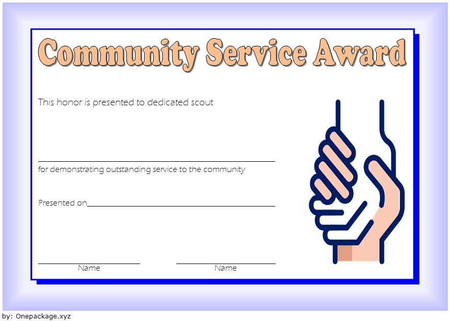 Community Service Award Certificate Template Free 4 In 2020 Regarding Fresh Community Service Certificate Template Free Ideas
