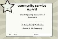 Community Service Certificate Of Appreciation | Certificate within Community Service Certificate Template Free Ideas