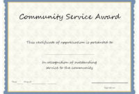 Community Service Certificate Template ~ Addictionary regarding Fresh Community Service Certificate Template Free Ideas