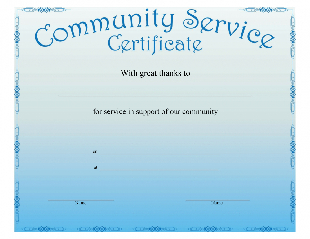 Community Service Certificate Template With This Certificate in Fresh Community Service Certificate Template Free Ideas