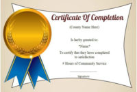 Community Service Hours Certificate Template | Community for Community Service Certificate Template Free Ideas
