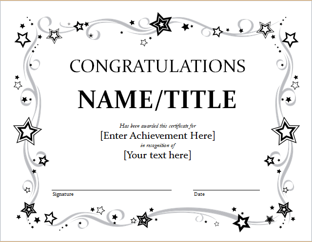 Congratulation Certificate Template For Word | Document Hub throughout Fresh Congratulations Certificate Template