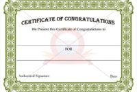 Congratulation Certificate Templates | Certificate Templates for Best Congratulations Certificate Template 10 Awards