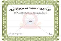 Congratulation Certificate Templates | Certificate Templates for Best Congratulations Certificate Template 10 Awards