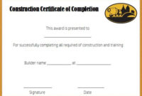Construction Certificate Of Completion Template Free intended for Certificate Of Construction Completion Template