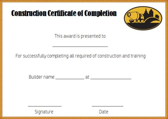 Construction Certificate Of Completion Template Free Throughout Fresh Certificate Of Construction Completion
