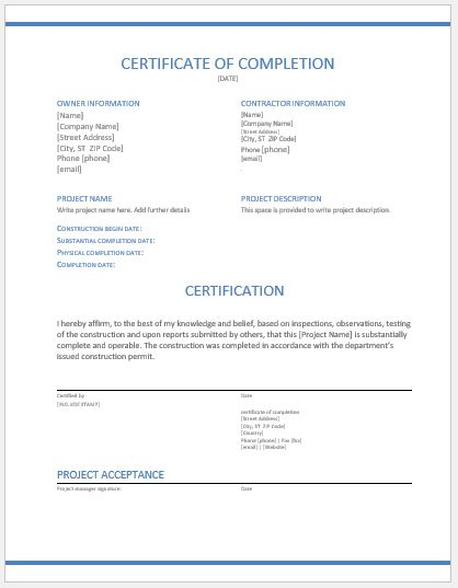 Construction Work Completion Certificates For Ms Word | Word for Fresh Certificate Of Construction Completion