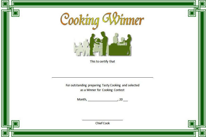Cooking Competition Certificate Template Free For Winner 1 With Unique Certificate Of Cooking 7 Template Choices Free
