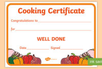 Cooking Reward Certificate (Teacher Made) with Cooking Competition Certificate Templates