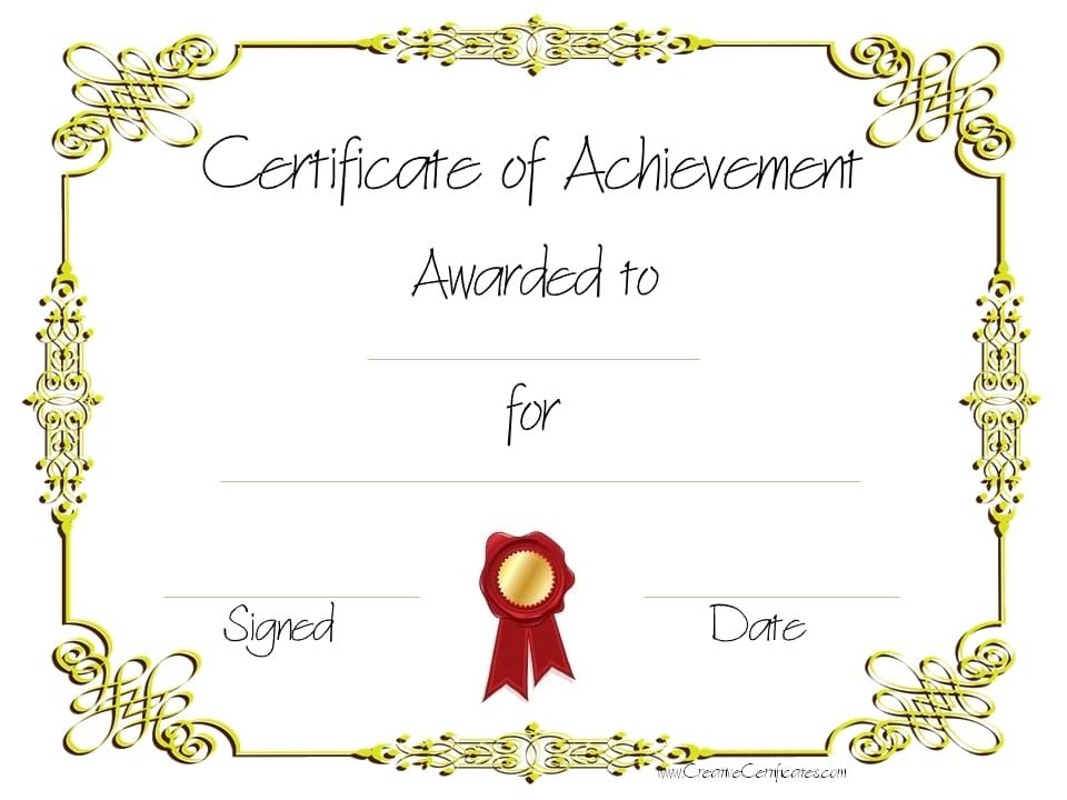 Copy 8 Of Certificate Of Achievement (960×720 With Regard To Best Weight Loss Certificate Template Free 8 Ideas