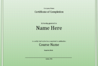 Course Completion Certificate inside Training Completion Certificate Template