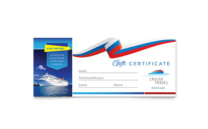 Cruise Travel Gift Certificate Template Design For Fresh Travel Gift Certificate Editable