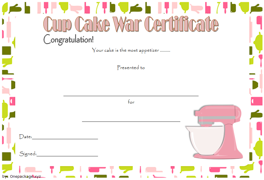 Cupcake Wars Certificate Free Printable 1 | Certificate Throughout Best Cupcake Certificate Template Free 7 Sweet Designs