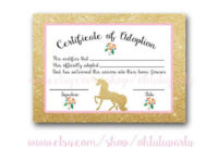 Custom Order Unicorn Adoption Certificatesohtutuparty for Unicorn Adoption Certificate Templates