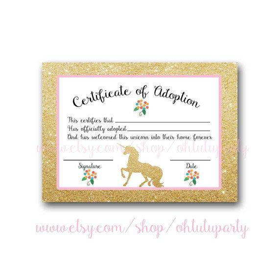 Custom Order Unicorn Adoption Certificatesohtutuparty In Best Unicorn Adoption Certificate Free Printable 7 Ideas