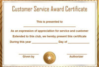 Customer Service Award Certificate: 10 Templates That Give within Volunteer Of The Year Certificate 10 Best Awards
