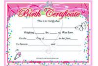 Cute Looking Birth Certificate Template intended for Cute Birth Certificate Template