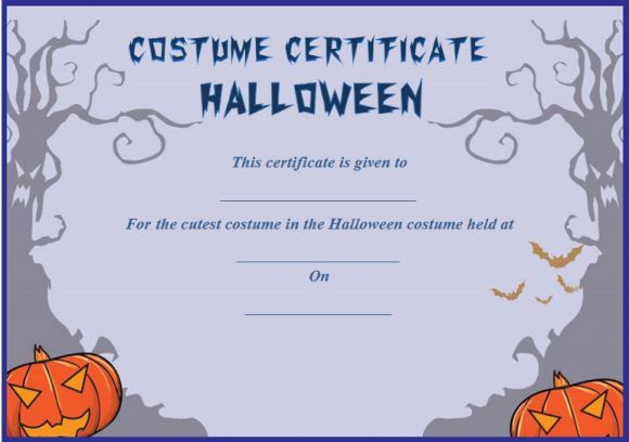 Cutest Halloween Costume Certificate Template | Certificate For Halloween Costume Certificate