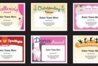 Dance Certificate Pack, Dancing Awards, Dance Team Printables, Child  Certificates, Dance Templates, Dancing Certificates, Best Seller with regard to Dance Award Certificate Template