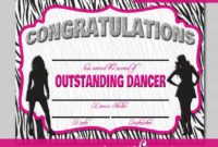 Dance Certificate – Print Your Own – Instant Download inside Dance Certificate Templates For Word 8 Designs