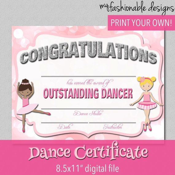 Dance Certificate - Print Your Own - Instant Download throughout Unique Dance Certificate Templates For Word 8 Designs