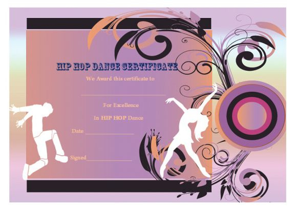 Dance Certificate Template - 26+ Free Certificates For Dance In Fresh Hip Hop Certificate Templates