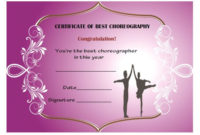 Dance Certificate Template – 26+ Free Certificates For Dance with Dance Award Certificate Templates
