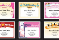 Dance Certificate Templates | Dancing Award Certificates for Dance Award Certificate Templates