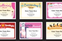 Dance Certificate Templates | Dancing Awards | Dance Class for Unique Dance Certificate Templates For Word 8 Designs