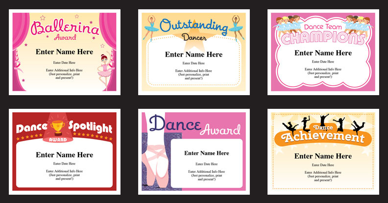 Dance Certificate Templates | Dancing Awards | Dance Class For Unique Dance Certificate Templates For Word 8 Designs