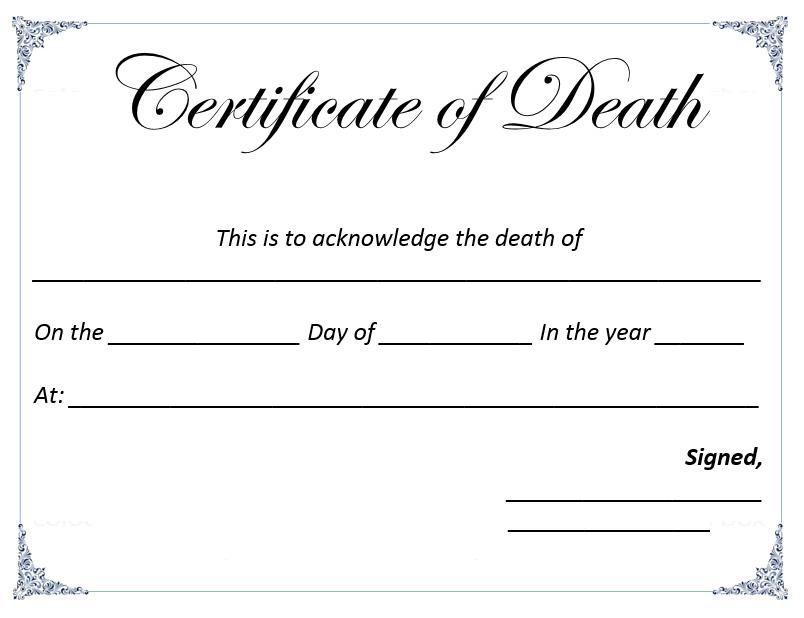 Death Certificate Template - Microsoft Word Templates With Regard To Death Certificate Template