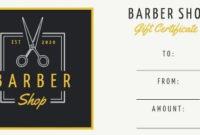 Design Your Own Barber Shop Gift Certificate regarding Fresh Barber Shop Certificate Free Printable 2020 Designs