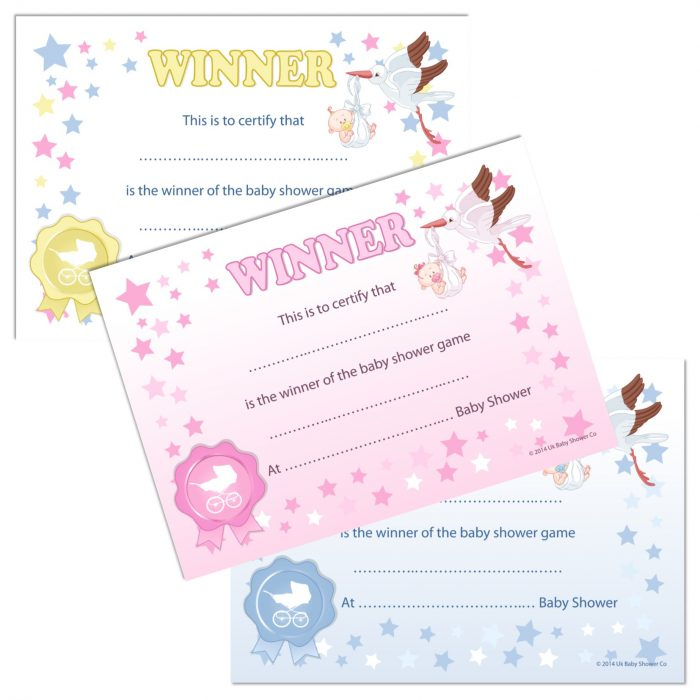 Details About Winner Certificates - Baby Shower Party Games Prize, 10/20  Pack Pink Blue Unisex With Regard To Unique Baby Shower Winner Certificates