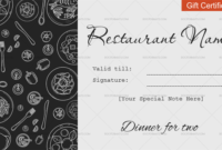 Dinner For Two Gift Certificate Templates – Editable regarding Restaurant Gift Certificates Printable