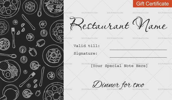 Dinner For Two Gift Certificate Templates - Editable Regarding Restaurant Gift Certificates Printable