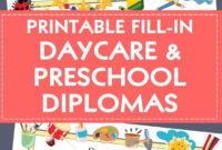 Diploma/Certificate For Preschool Or Daycare: Printable Pdf with regard to Unique Daycare Diploma Template Free