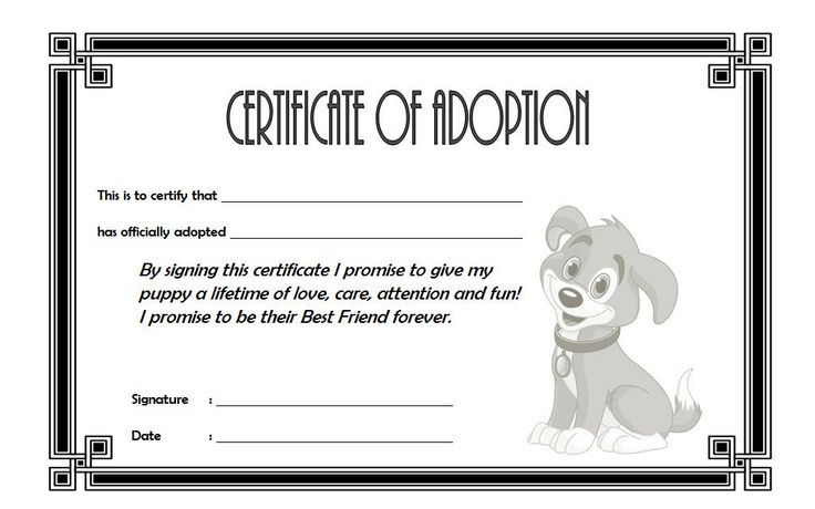 Dog Adoption Certificate Free Printable (1St Design) In 2020 Within Best Dog Adoption Certificate Editable Templates