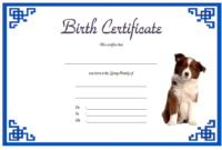 Dog Birth Certificate Template Free 1 | Dog Birth, Birth with Unique Puppy Birth Certificate Free Printable 8 Ideas