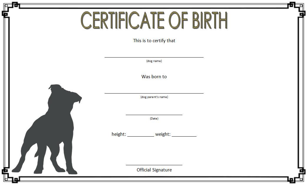 Dog Birth Certificate Template Free 2 | Dog Birth, Birth Intended For Fresh Puppy Birth Certificate Template
